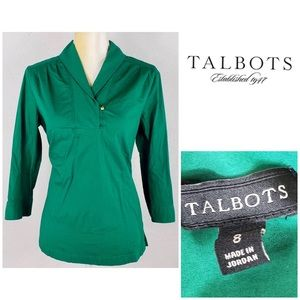 Talbots Kelly Green Long Sleeve Tunic Shirt sz 8